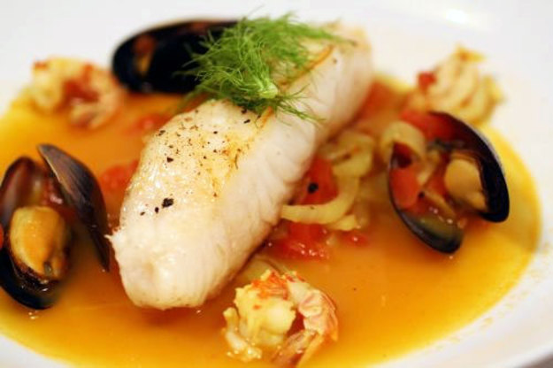 Chilean Sea Bass with Clams, Mussels, and Tomatoes from Roberto's Restaurant
